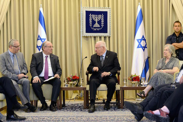 Israeli President Reuven Rivlin holds an 'emergency discussion' about academic boycott with the heads of Israeli universities and colleges at the President's Residence in Jerusalem, May 28, 2015. (Photo by Mark Neiman/GPO)