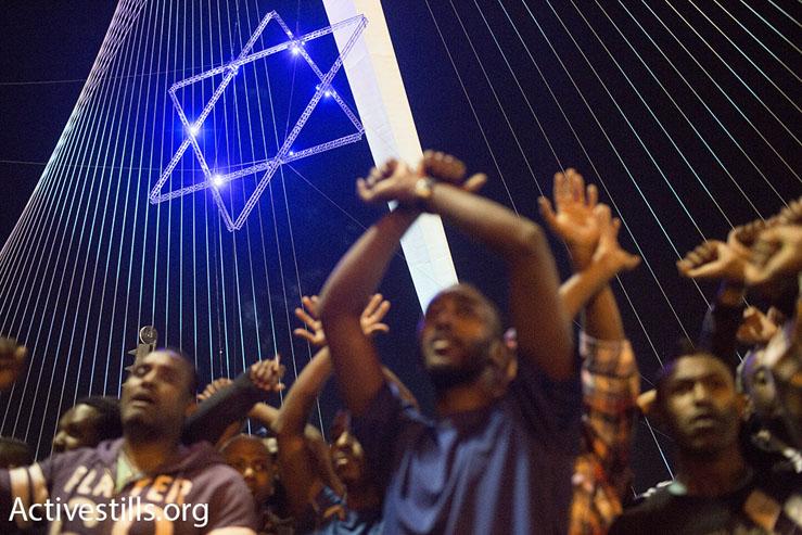 Ethiopian-Israelis protest against police brutality, Jerusalem, April 30, 2015. (Oren Ziv/Activestills.org)