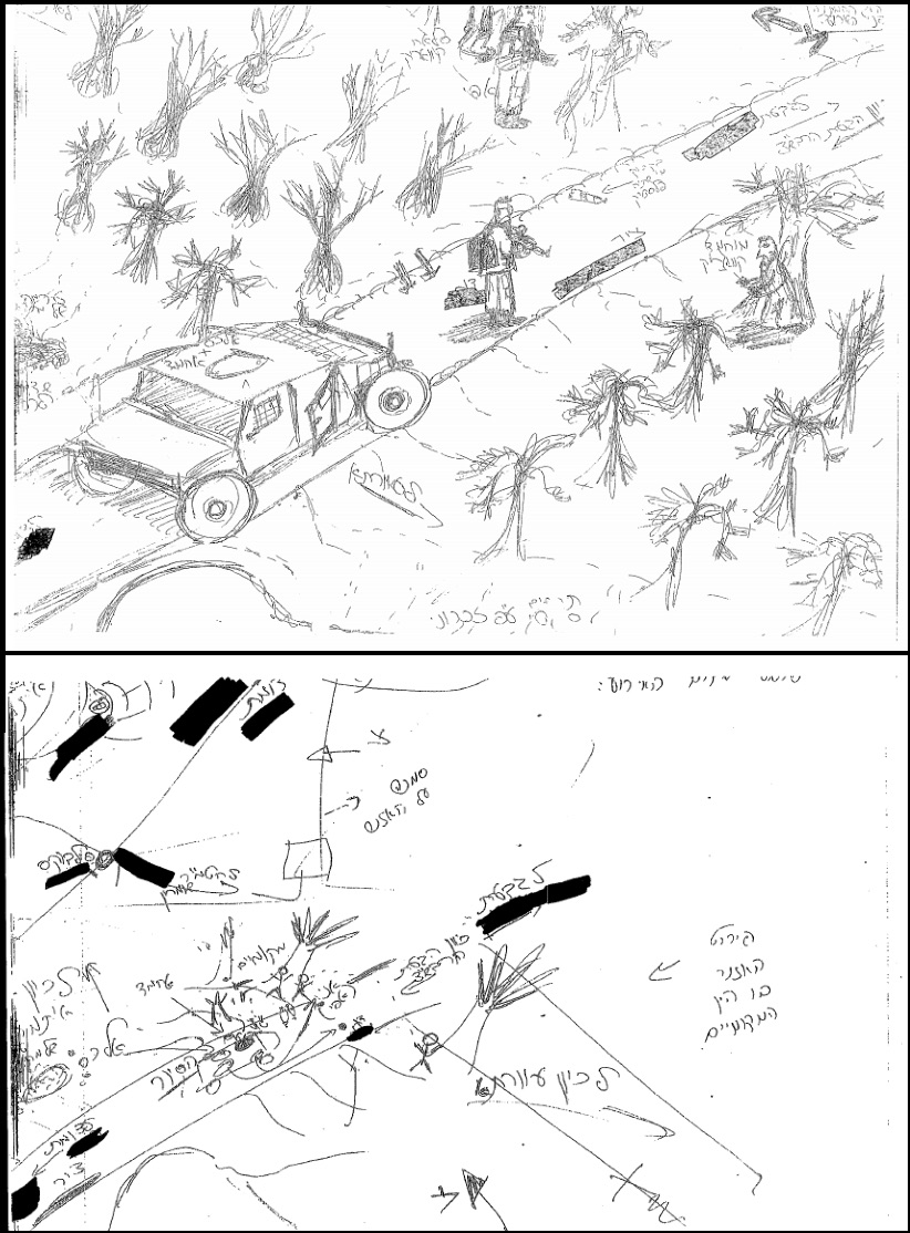 Contradictory drawings of the scene, by the soldiers. Top: Drawing by L., who stayed int he vehicle. Bottom: A's sketch.