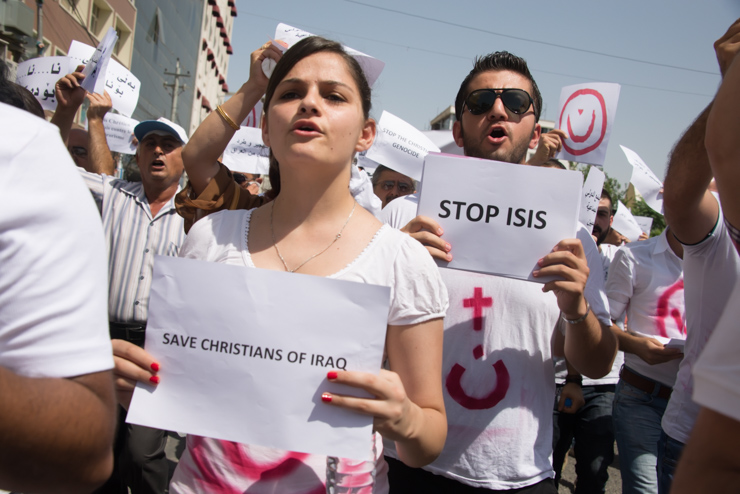 Iraqi Christians march in Erbil, Iraqi Kurdistan, in solidarity with Christians fleeing Mosul because of persecution by ISIS forces, July 24, 2014. (photo: Ryan Rodrick Beiler/Activestills.org)