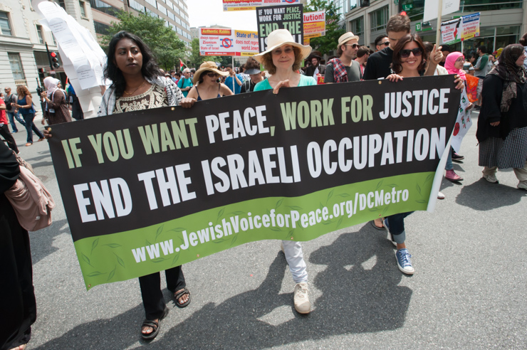 Supporters of Jewish Voice for Peace march among thousands in Washington, D.C., protesting Israel's offensive on Gaza, August 2, 2014.
