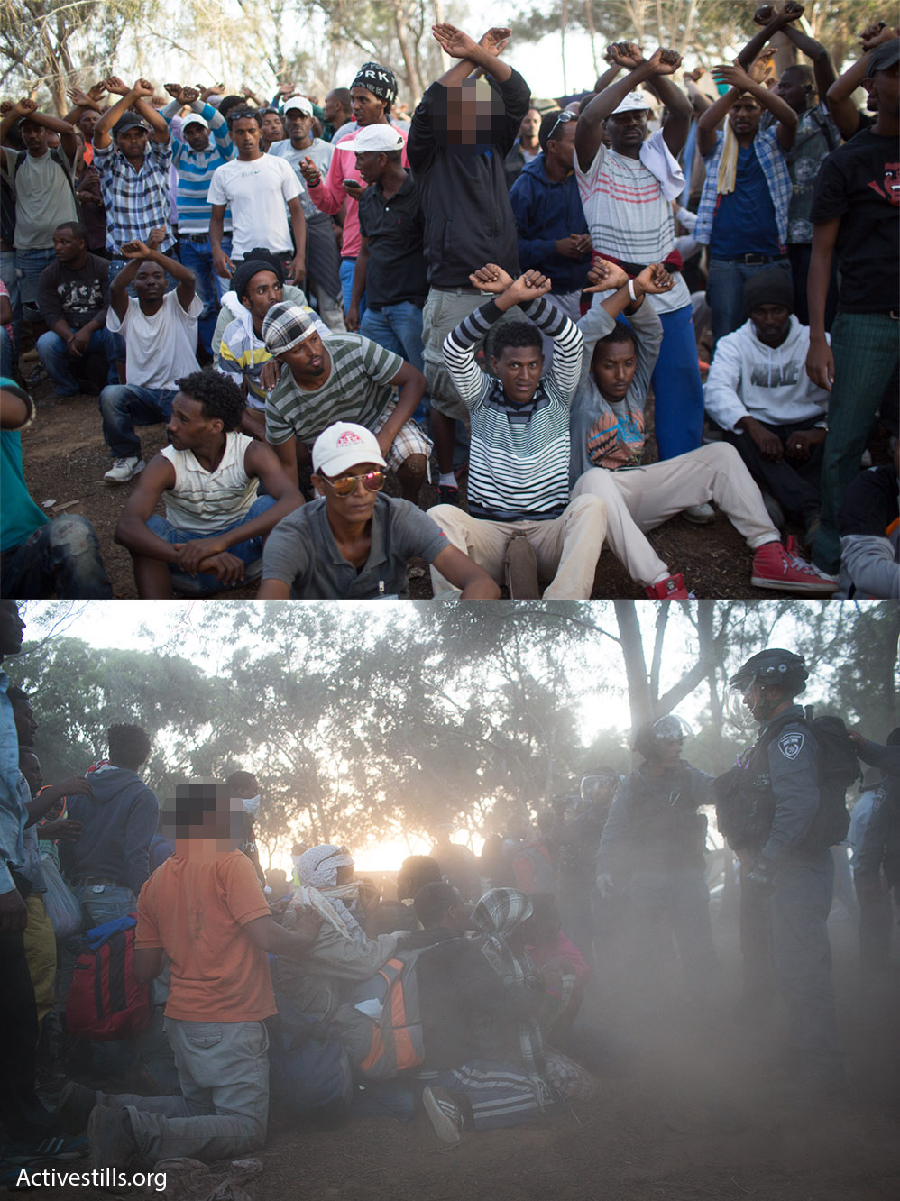 Jack and Tishome identified friends who have left Israel in photos of the protests. The pair asked that I blurred the faces of their friends, one from Sudan (top) and another from Eritrea (bottom), in order to protect their identities in their new countries.
