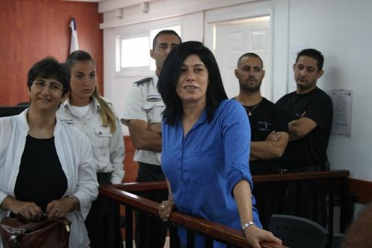 Palestinian parliamentarian Khalida Jarrar seen during her trial in Ofer military court, West Bank, June 22, 2015. (photo: Haggai Matar)