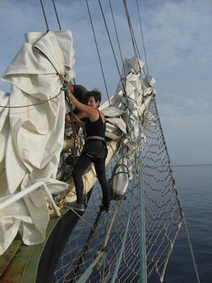 Reut Mor on the 'Estelle,' part of the 2012 flotilla to Gaza. (Courtesy of Reut Mor)