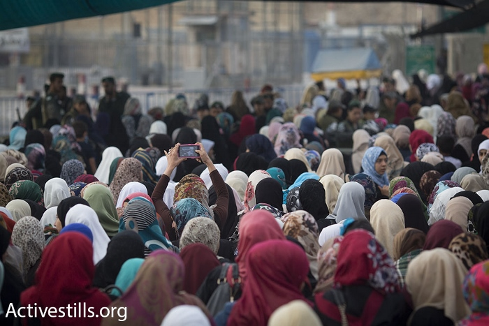 A Palestinian woman takes a 'selfie' while standing in line at Qalandiya checkpoint during the second Friday of Ramadan, June 26, 2015. (photo: Oren Ziv/Activestills.org)