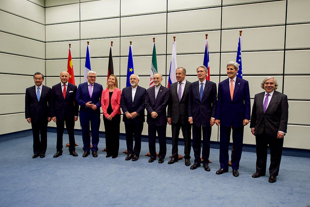 Secretary Kerry Poses for a Group Photo With E.U., P5+1, and Iranian Officials Before Final Plenary of Iran Nuclear Negotiations in Austria. (State Department photo)