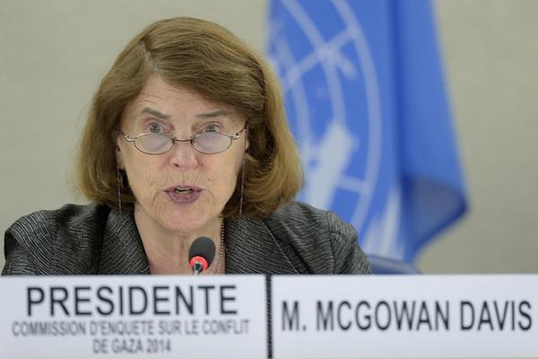 Mary McGowan Davis at the Human Rights Council in Geneva, March 23, 2015. (UN Photo / Jean-Marc Ferré)