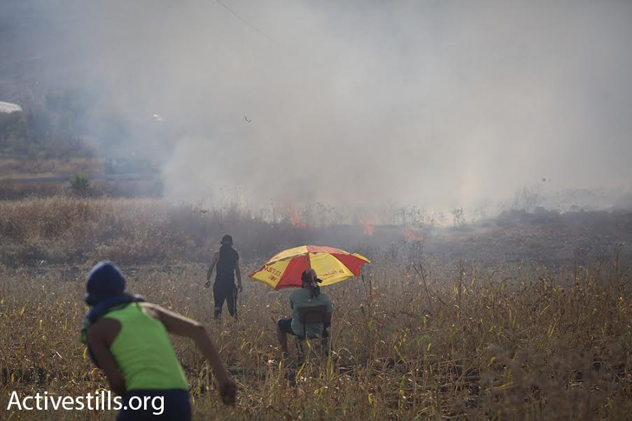 Palestinians look on at a brush fire caused by tear gas canisters shot by Israeli soldiers during clashes at Hawara checkpoint, July 31, 2015. (photo: Oren Ziv/Activestills.org)