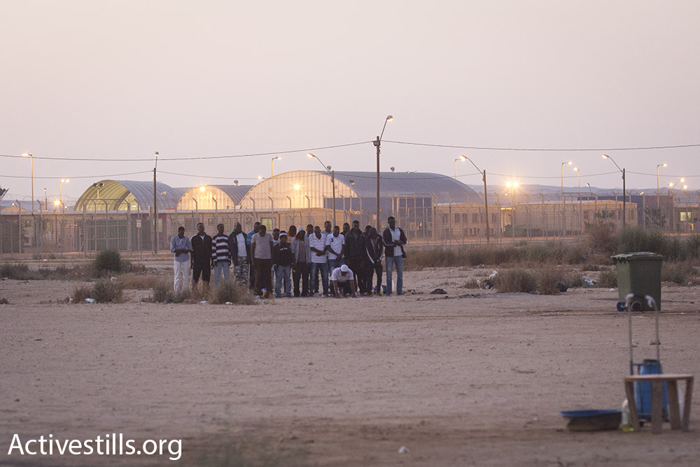Sudanese asylum seekers pray outside the gates of Holot during the Muslim holy month of Ramadan, July 2015. (Oren Ziv/Activestills.org)