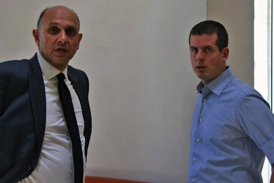 Former Im Tirzu head Ronen Shoval (left) alongside the organization's attorney, Nadav Haetzni at the Supreme Court, June 15, 2015. (photo: Oren Persico)