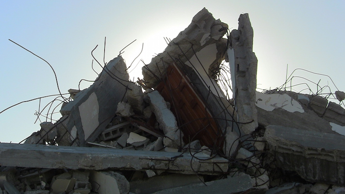 The Awajah family home was destroyed in the 2009 Gaza war, rebuilt and destroyed again in the 2014 war. (Photo by Jen Marlowe)