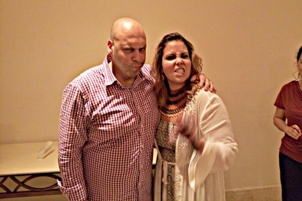 Comedians Amer Zahr and Mona Aburmishan at the 1001 Laughs Comedy Festival, August 14, 2015. (photo: Dahlia Scheindlin)