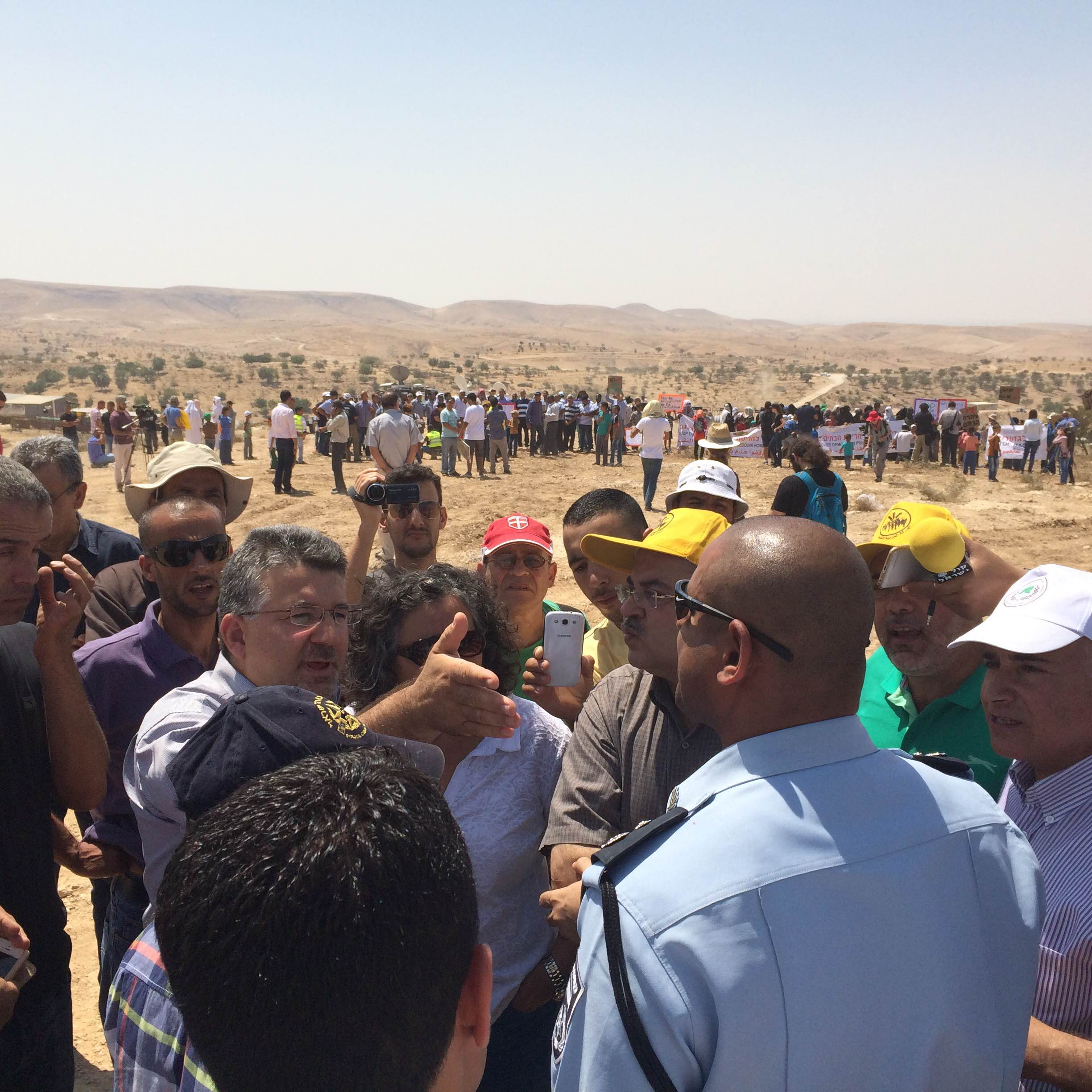 Protesters march as construction begins for Jewish town to  replace Bedouin village. August 27, 2015 (Amjad Iraqi)
