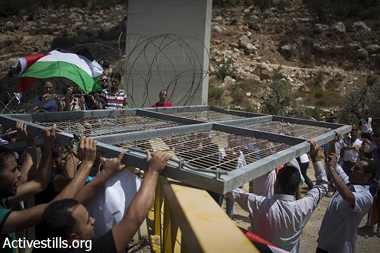 Palestinian protesters remove a gate that is part of Israeli Separation Barrier, during a direct action against the construction of the Wall in the West Bank town of Beit Jala, near Bethlehem, August 23, 2015. (photo: Oren Ziv / Activestills.org)