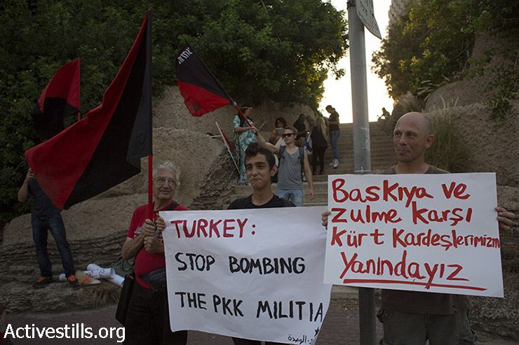 Anarchist activists protest in front of the Turkish embassy in Tel Aviv against the recent attacks of the Turkish army against the Kurdish militias, July 26, 2015. (photo: Oren Ziv / Activestills.org)