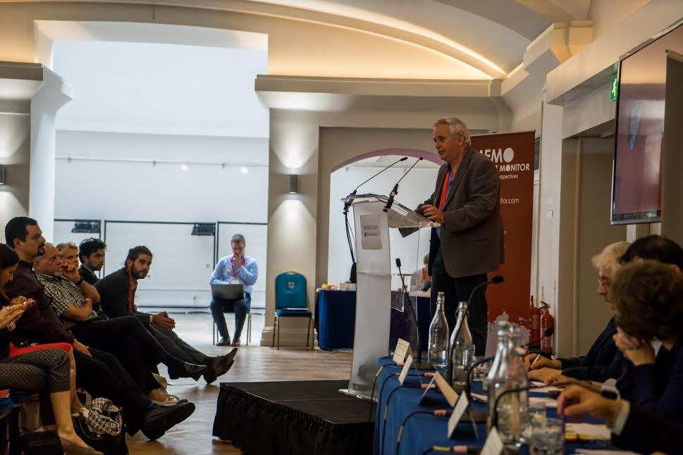 Israeli historian Ilan Pappe speaks during a panel at a conference on Palestine & Latin America in the 21st Century, London, United Kingdom, August 22, 2015. (photo: Middle East Monitor)