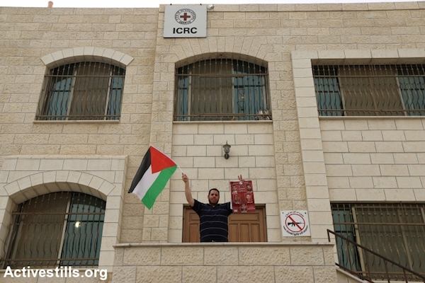 A man raises a Palestinian flag and photos of administrative detainees outside the ICRC building in Nablus during a protest against administrative detention, Nablus, West Bank. September 10, 2015. (Ahmad Al-Bazz/Activestills.org)