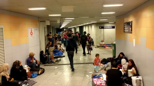 Photo 2: Just below street level, one finds thousands in need of protection. Asylum seekers at the central train station in Budapest. (photo: Shahar Shoham)