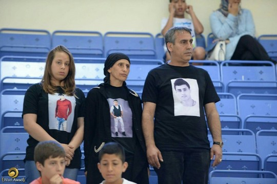 The family of Mahrous Zbeidat at a memorial football match held in his honor. (photo: Wael Awad)