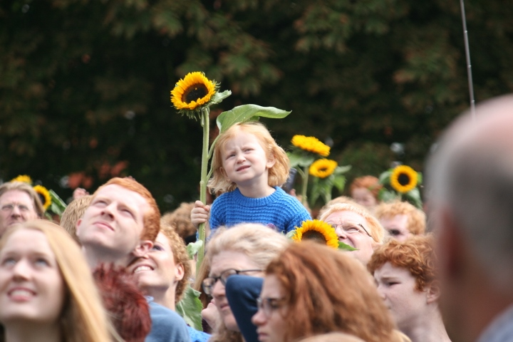 Redheads pose for the record-breaking photo at the Redhead Days festival, Breda, Netherlands. (photo: Haggai Matar)