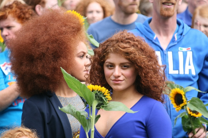 Redheads prepare for their record-breaking photo, Redhead Days festival, Breda, Netherlands. (photo: Haggai Matar)