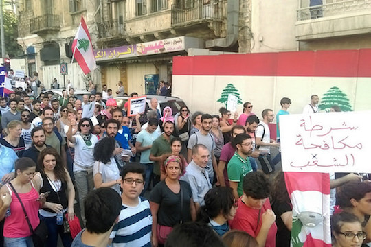 Protests in Lebanon demanding that the government resume trash collection in Beirut, August 29, 2015. (Joelle Hatem /CC 2.0) Demonstrators have also begun to demand an end to the sectarian nature of their government.