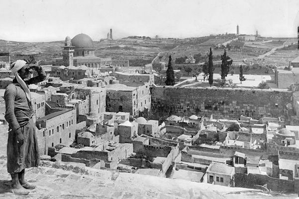 The Western Wall and the Mughrabi Quarter, which was destroyed following Israel's capture of Jerusalem's Old City during the 1967 war.