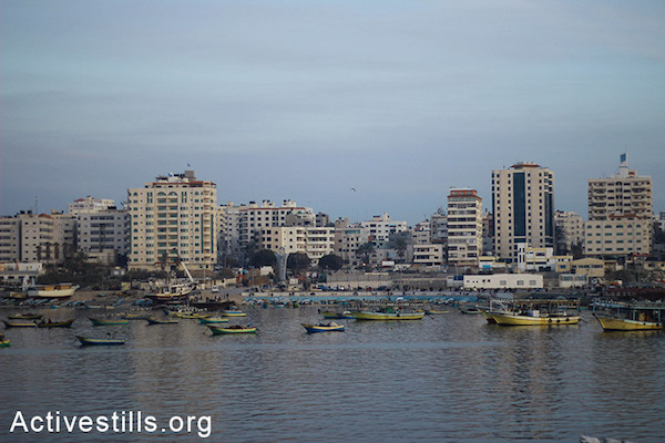 Boats line the shore at Gaza's seaport. (Basel Yazouri/Activestills.org)