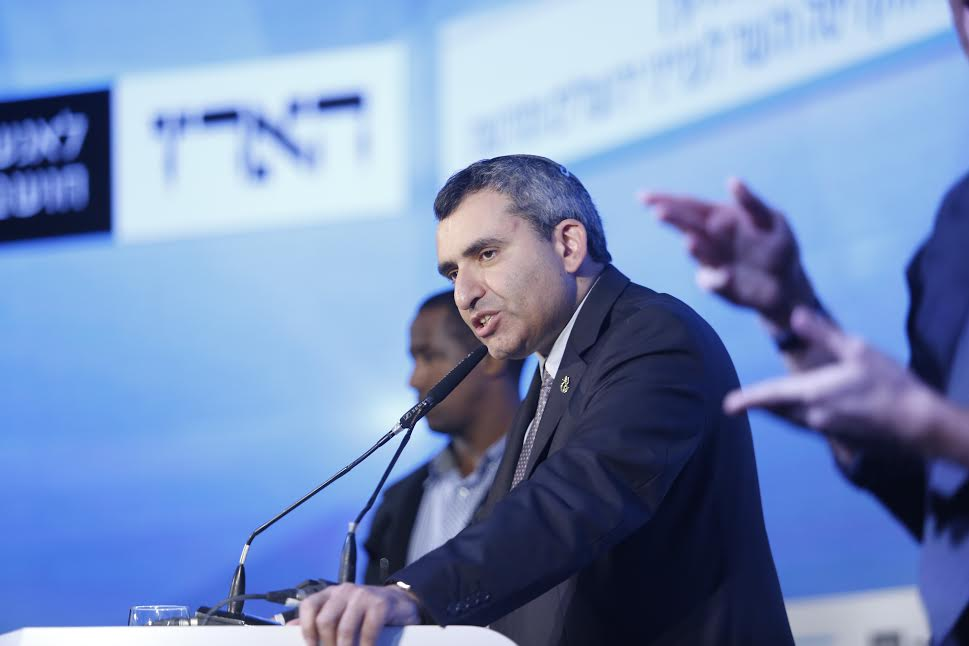 Likud MK Elkin and Minister of Immigrant Absorption and Minister of Jerusalem Affairs Ze'ev Elkin speaks during the Haaretz Conference on Peace, Tel Aviv, November 12, 2015. (photo: Tomer Appelbaum)