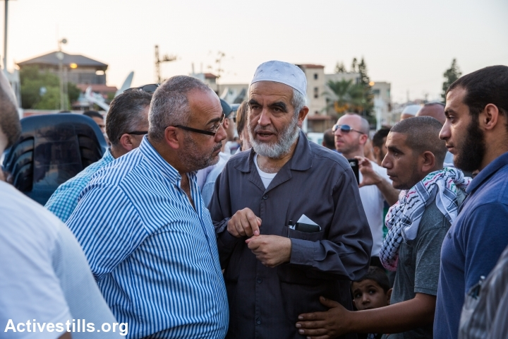 Raed Salah, leader of the northern branch of the Islamic Movement in Israel, during a large protest and a general strike, in solidarity with Palestinians in Jerusalem, West Bank and Gaza, in the northern town of Sakhnin, on October 13, 2015. Palestinians call for a Day of Rage following restrictions on Al Aqsa and recent violent attacks of both Israelis and Palestinians. (photo: Yotam Ronen/Activestills.org)