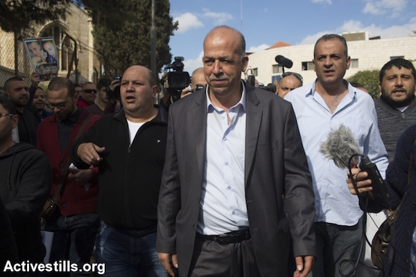 Hussein, the father of Palestinian teenager Muhammad Abu Khdeir, who was murdered last year, walks outside the district court in Jerusalem on November 30, 2015. (Oren Ziv/Activestills)