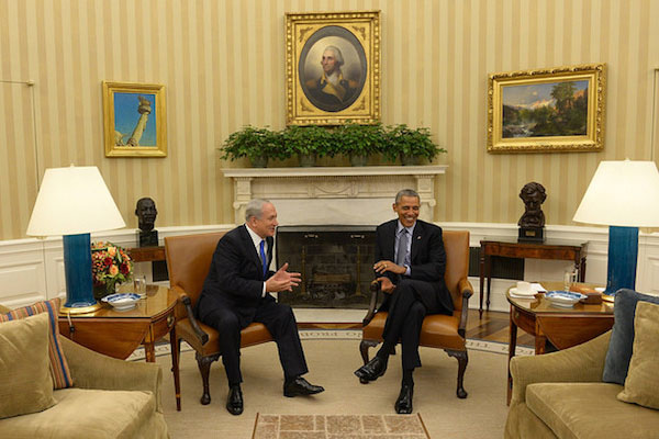 Prime Minister Benjamin Netanyahu meets with U.S. President Barack Obama in the White House, November 9, 2015. (Haim Zach / GPO)