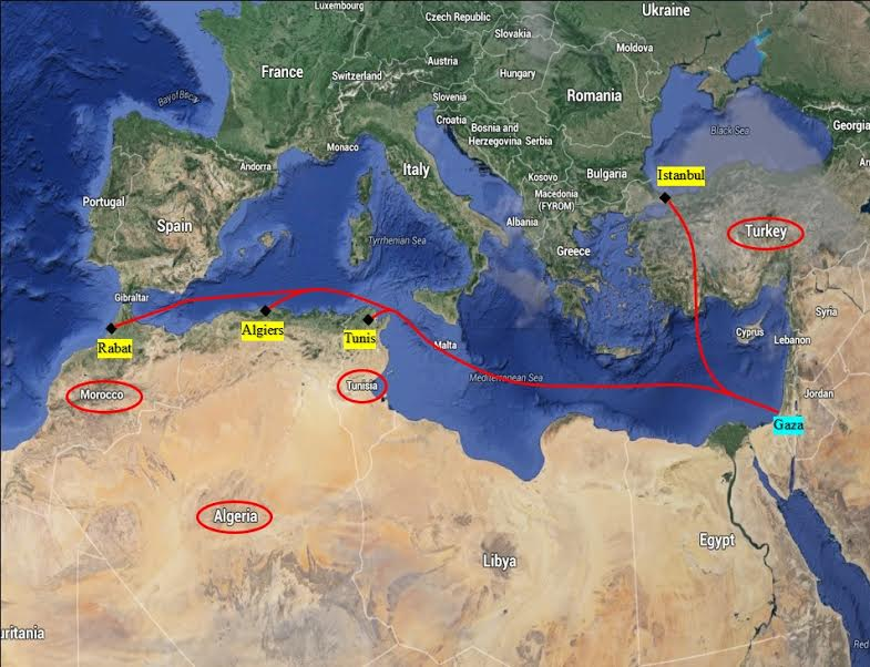 Proposed Flight Paths to Connect Gaza with Four Nations Overlooking the Mediterranean. (Courtesy of PUA)
