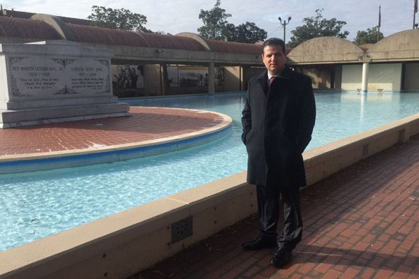 MK Ayman Odeh, chairman of the Joint List, at the Martin Luther King Jr. memorial in Atlanta. (Photo by Joint List spokesperson)