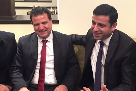 "Joint List Ayman Odeh (left) meets with HDP head Selahattin Demirta in the U.S., after both made Foreign Policy's list of ""leading global thinkers"" of 2015. (photo courtesy of the Joint List)"