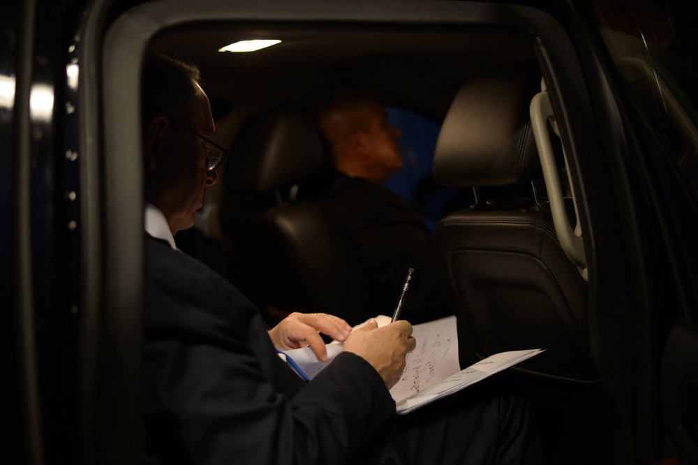 Benjamin Netanyahu makes final notes to a pre-election speech against the Iran deal that he delivered to AIPAC in Washington. On the same trip, the prime minister tried to convince Congress to vote against the Iran deal, which was considered to be a direct affront to President Obama. March 2, 2015, Washington D.C. (Amos Ben-Gershom/GPO)