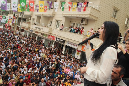 Figen Yüksekdağ, one of two chairpeople of the HDP, speaks at a election rally in the Kurdish town of Nusaybin, Turkey. (photo courtesy of HDP)