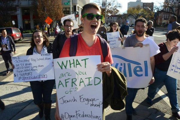 Young American Jews take part in the Jewish People's Assembly outside the General Assembly of the Jewish Federations of North America, Washington, D.C., November 8, 2015. (photo: Gili Getz)