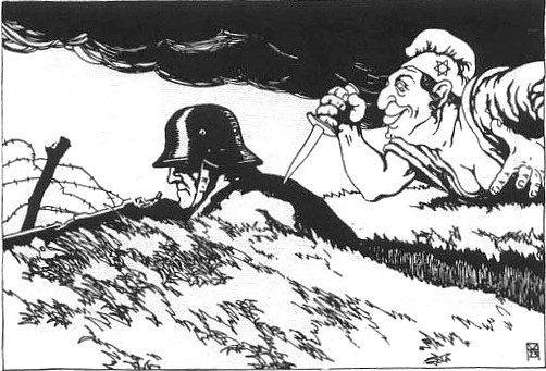 An illustration from a 1919 Austrian postcard showing a caricatured Jew stabbing the German Army in the back with a dagger. The capitulation was blamed upon the unpatriotic populace, the Socialists, Bolsheviks, the Weimar Republic, and especially the Jews.