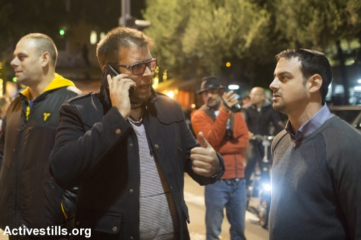 Likud MK Oren Hazan takes part in a right-wing counter protest against leftists demonstrating against incitement coming from the Right against human rights organizations, central Tel Aviv, December 19, 2015. (photo: Oren Ziv/Activestills.org)