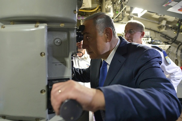 Prime Minister Benjamin Netanyahu attends a welcoming ceremony for INS Rahav, Israel's newest submarine. (photo: Kobi Gideon/GPO)