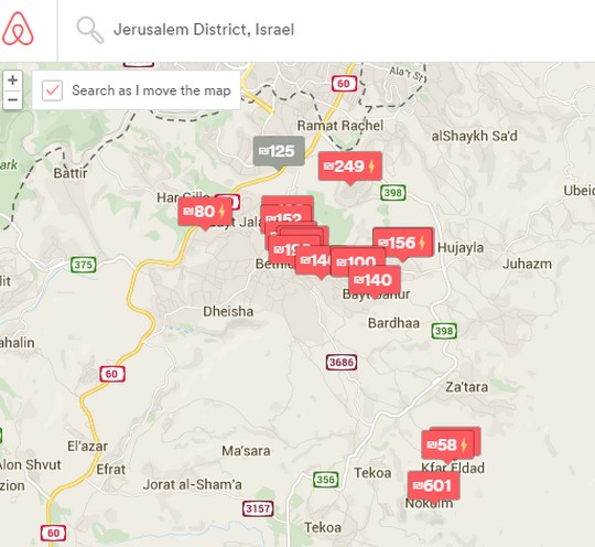 According to Airbnb, there is no difference between the Jerusalem area and West Bank settlements. (screenshot: Airbnb.com)
