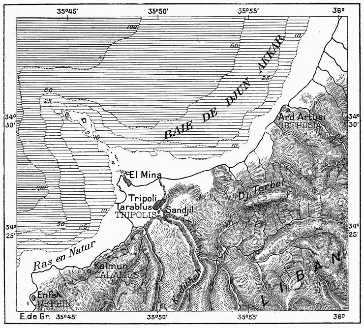 Map of Tripoli, Lebanon. (By Élisée Reclus)