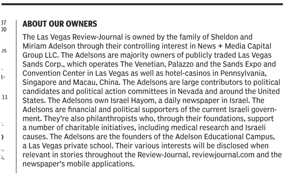The ownership disclosure published by the Las Vegas Review-Journal on January 10, 2015.