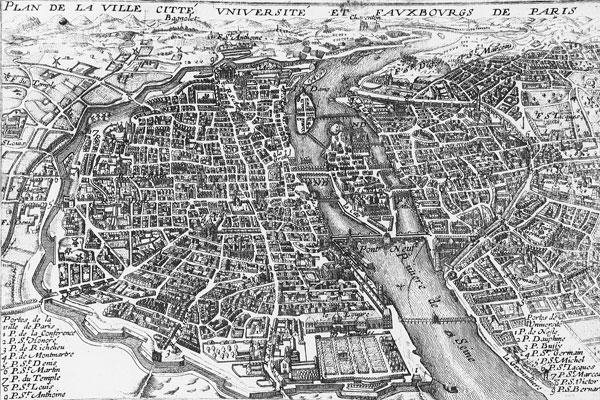 A 17th century map of Paris.