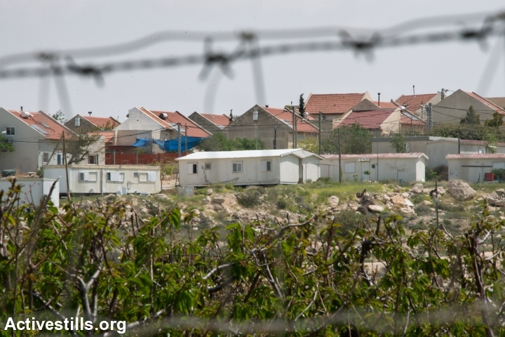 Mobile homes and fruit trees represent the expanding edges of the Israeli settlement of Ma'on, which is taking land from the South Hebron Hills village of Al Tuwani, West Bank, April 2, 2014.  (photo: Ryan Rodrick Beiler/Activestills.org)