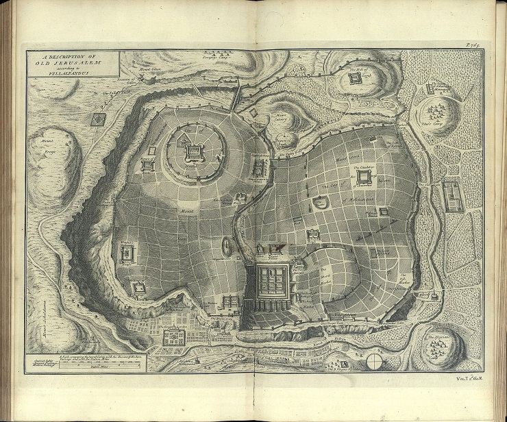 An imaginary plan of ancient Jerusalem from Calmet's Biblical dictionary, 1732.