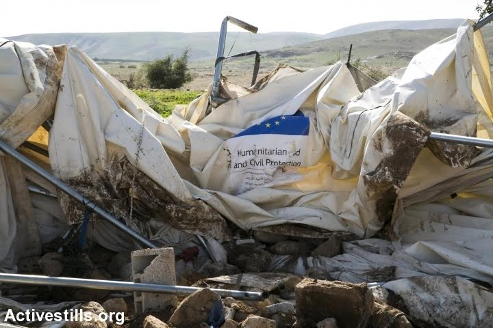 A demolished home donated by the European Union, Fasayl, Jordan Valley, West Bank, February 11, 2016. (photo: Activestills.org)
