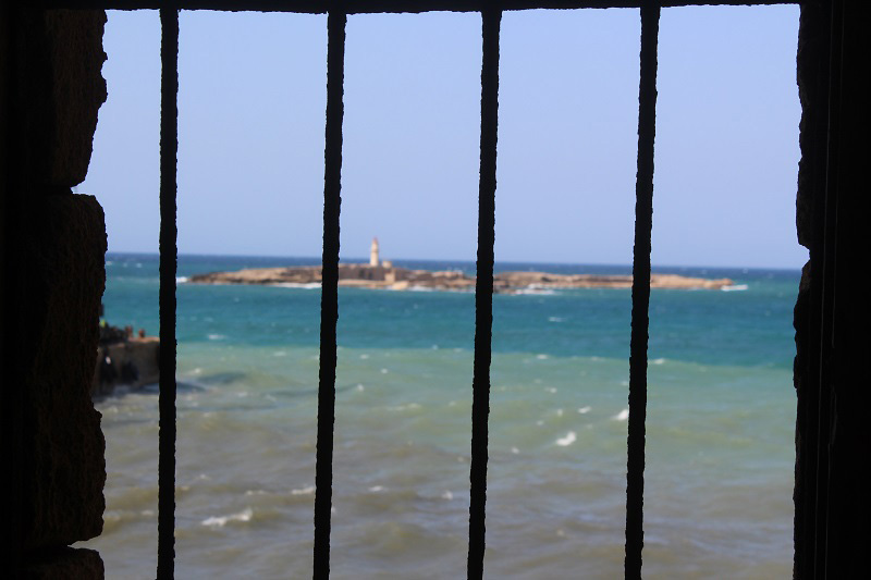 A view of the lighthouse off the coast of Sidon (Saida), Lebanon. (Photo by Maisan Hamdan)