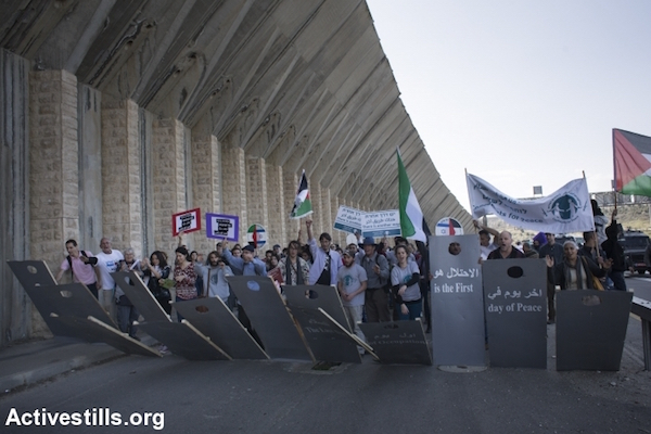 Palestinian and Israeli activists protest the occupation on the West Bank's main north-south highway, February 5, 2016. (Activestills.org)